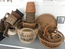 Selection of basketry on display collected by Rodney