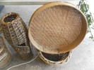 Eel trap known as a 'hive' and stable sieve both made by a Lincoln basket maker c.1972