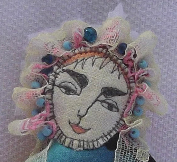 Pinc doll geisha fabric lace head-dress front face