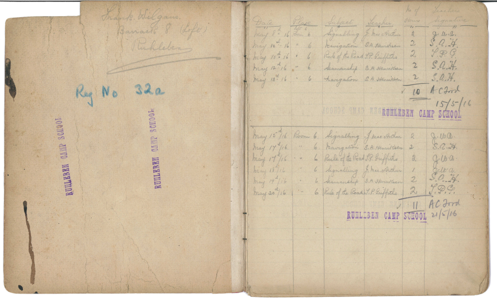 Records of classes attended at Ruhleben Camp School 1916