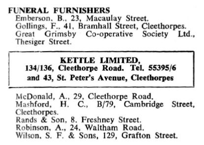 Funeral ad 1960 Directory